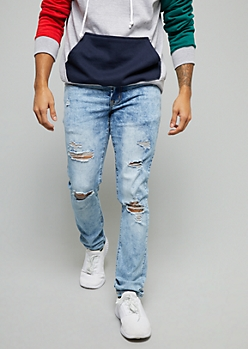 Flex Light Acid Wash Distressed Skinny Jeans