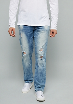 Light Wash Paint Splatter Distressed Jeans