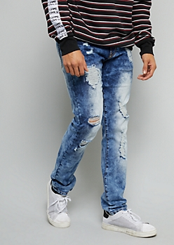 Flex Medium Bleach Wash Distressed Skinny Jeans