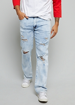 Flex Light Acid Wash Distressed Bootcut Jeans