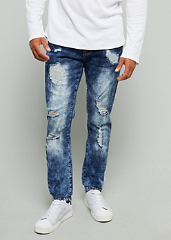 Flex Dark Bleach Wash Distressed Skinny Jeans