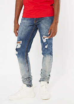 Supreme Flex Medium Wash Ombre Stacked Skinny Jeans