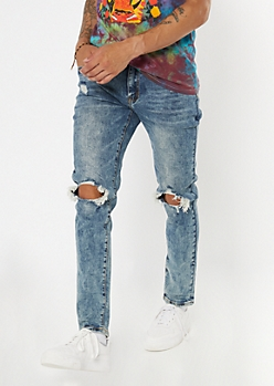 Supreme Flex Medium Acid Wash Ripped Knee Skinny Jeans