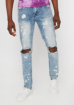 Flex Medium Wash Bleached Cutout Skinny Jeans