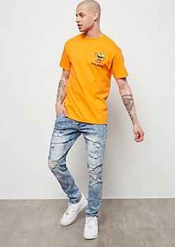 Flex Light Acid Wash Destroyed Skinny Jeans