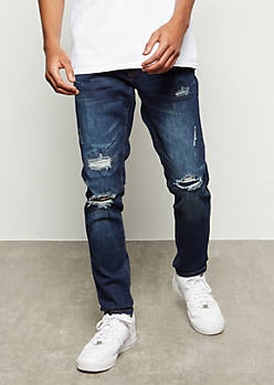 Flex Dark Wash Repaired Ripped Knee Skinny Jeans