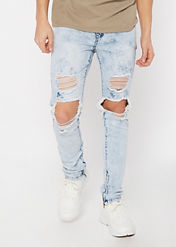 Supreme Flex Light Acid Wash Destroyed Skinny Jeans