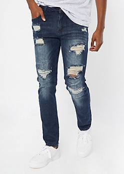 Supreme Flex Medium Wash Repaired Skinny Jeans