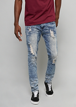 Medium Acid Wash Distressed Knee Skinny Jeans