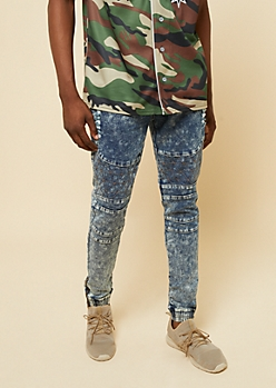 Flex Medium Wash Bleached Quilted Moto Denim Joggers
