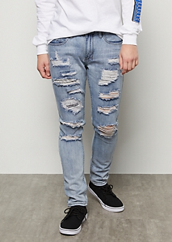 Flex Medium Wash Ripped Skinny Jeans