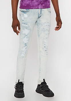 Flex Light Acid Wash Repaired Ripped Skinny Jeans