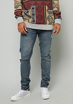 Flex Medium Wash Ripped Knee Skinny Jeans