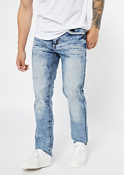 Supreme Flex Light Acid Wash Straight Jeans