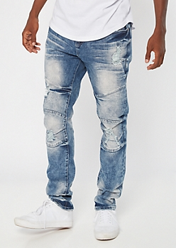 Supreme Flex Medium Acid Wash Side Striped Skinny Jeans