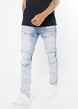 Supreme Flex Light Bleach Wash Moto Skinny Jeans