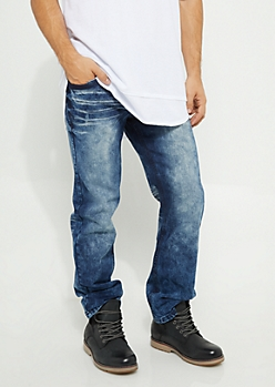Dark Wash Flex Bootcut Distressed Jeans