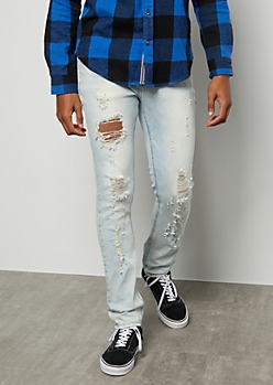 Flex Light Wash Sandblasted Ripped Knee Skinny Jeans