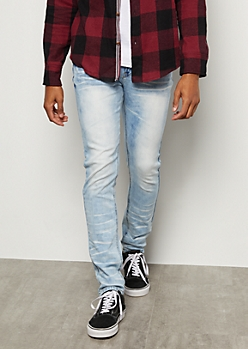 Flex Light Wash Whiskered Skinny Jeans