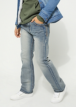 Medium Wash Pocket Stitched Boot Cut Jeans