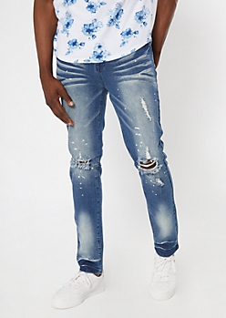 Supreme Flex Dark Wash Sandblasted Ripped Knee Skinny Jeans