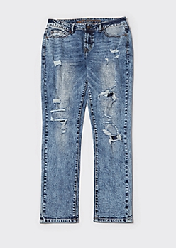 Medium Acid Wash Ripped Skinny Moto Jeans