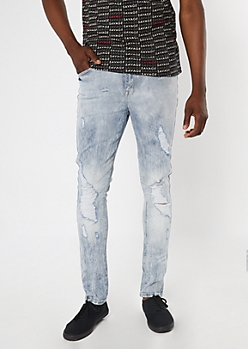 Supreme Flex Light Acid Wash Distressed Skinny Jeans