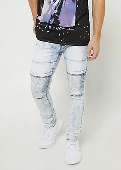 Flex Light Acid Wash Skinny Moto Jeans