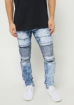 Flex Medium Acid Wash Skinny Moto Jeans