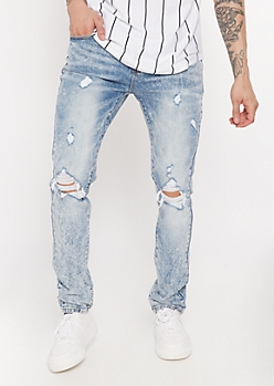 Supreme Flex Acid Wash Blown Knee Skinny Jeans