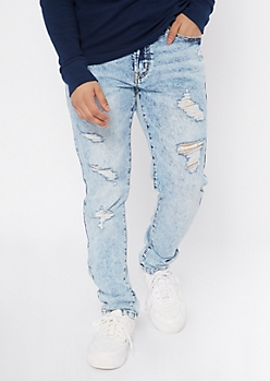 Light Acid Wash Destructed Skinny Jeans