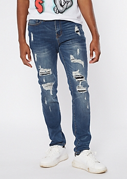 Dark Wash Ripped Repaired Skinny Jeans