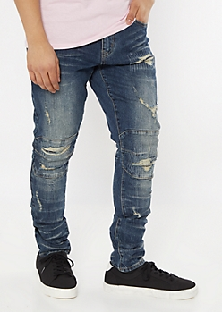 Dark Wash Ripped Repaired Super Skinny Jeans