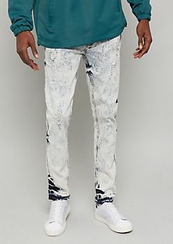 Flex Light Acid Wash Raw Cut Hem Skinny Jeans