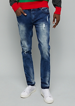 Flex Dark Acid Wash Raw Cut Hem Skinny Jeans