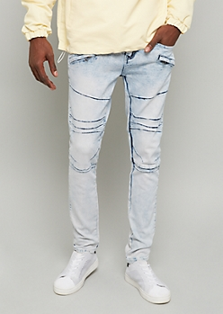 Flex Light Acid Wash Zipper Pocket Skinny Jeans