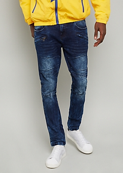 Flex Dark Acid Wash Zipper Pocket Skinny Jeans