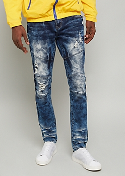 Flex Dark Wash Bleached Distressed Skinny Jeans