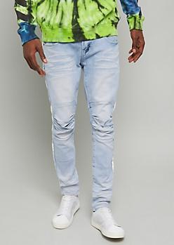 Flex Light Wash Side Striped Skinny Jeans
