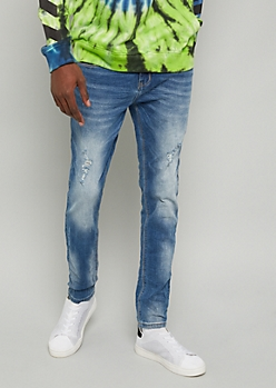 Flex Medium Wash Distressed Sandblasted Skinny Jeans