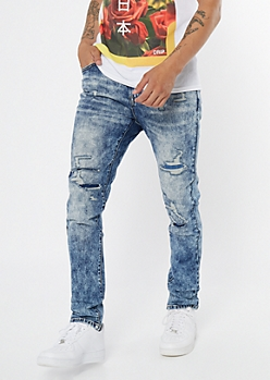 Supreme Flex Medium Acid Wash Ripped Skinny Jeans
