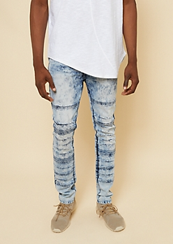 Flex Medium Wash Bleached Moto Super Skinny Jeans