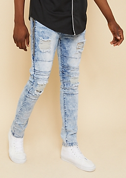 Flex Medium Acid Wash Side Zipper Skinny Jeans