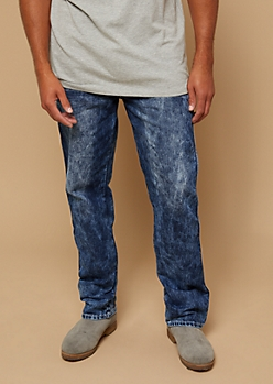 Dark Faded Bleach Wash Topstitched Boot Cut Jeans