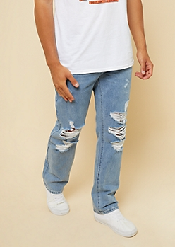 Medium Wash Distressed Relaxed Straight Jeans