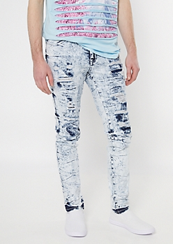 Supreme Flex Icy Wash Ripped Repaired Super Skinny Jeans