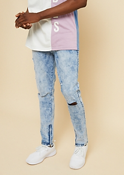 Flex Medium Acid Wash Zipper Ankle Ripped Knee Skinny Jeans