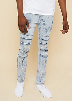Flex Medium Acid Wash Split Knee Skinny Jeans