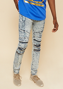 Flex Light Acid Wash Distressed Marbled Skinny Jeans