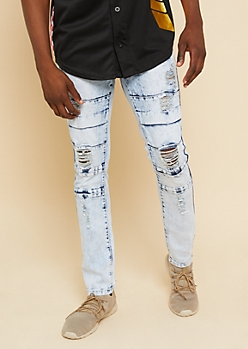 Flex Light Acid Wash Distressed Flap Skinny Jeans